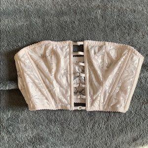 Victoria's Secret white sparkly lace cage bra